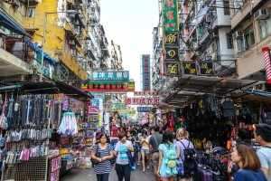 Crowded Market Stalls in Hong Kong