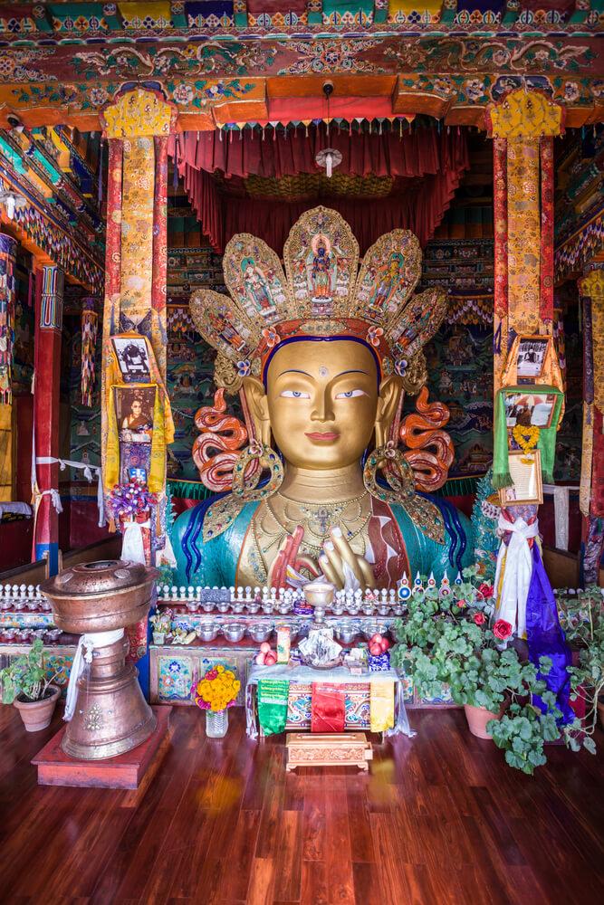 The Maitreya Buddha (Future Buddha) at Thiksey Monastery in Ladakh