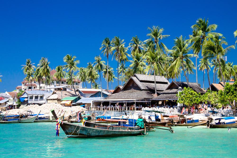 Long Tail Boats in Phi Phi Don Island, Krabi, Thailand