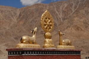 Statue of two golden deer on the gateway to Pyang Monastery in Ladakh
