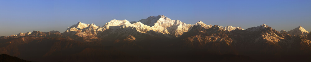 Panorama of Mount Kanchenjunga from Tiger Hill Darjeeling at Sunrise