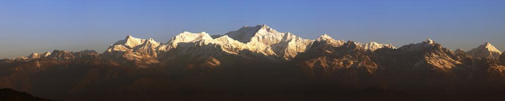 Panorama of Mount Kanchenjunga from Tiger Hill Darjeeling at Sunrise