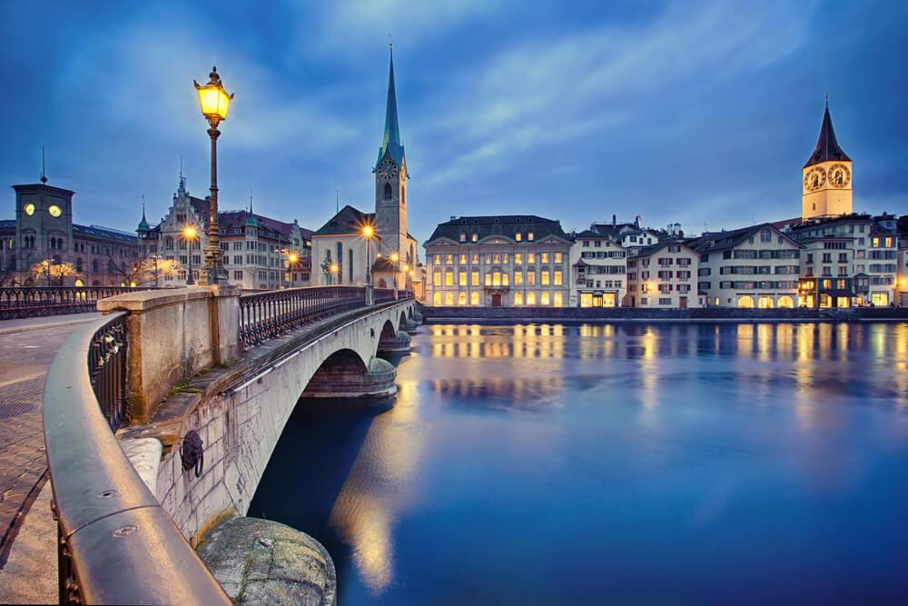 Fraumunster Church and Church of St. Peter at night, Zurich, Switzerland