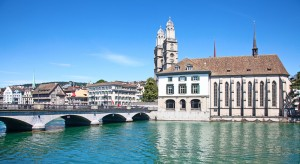 Limmat river and famous Zurich church