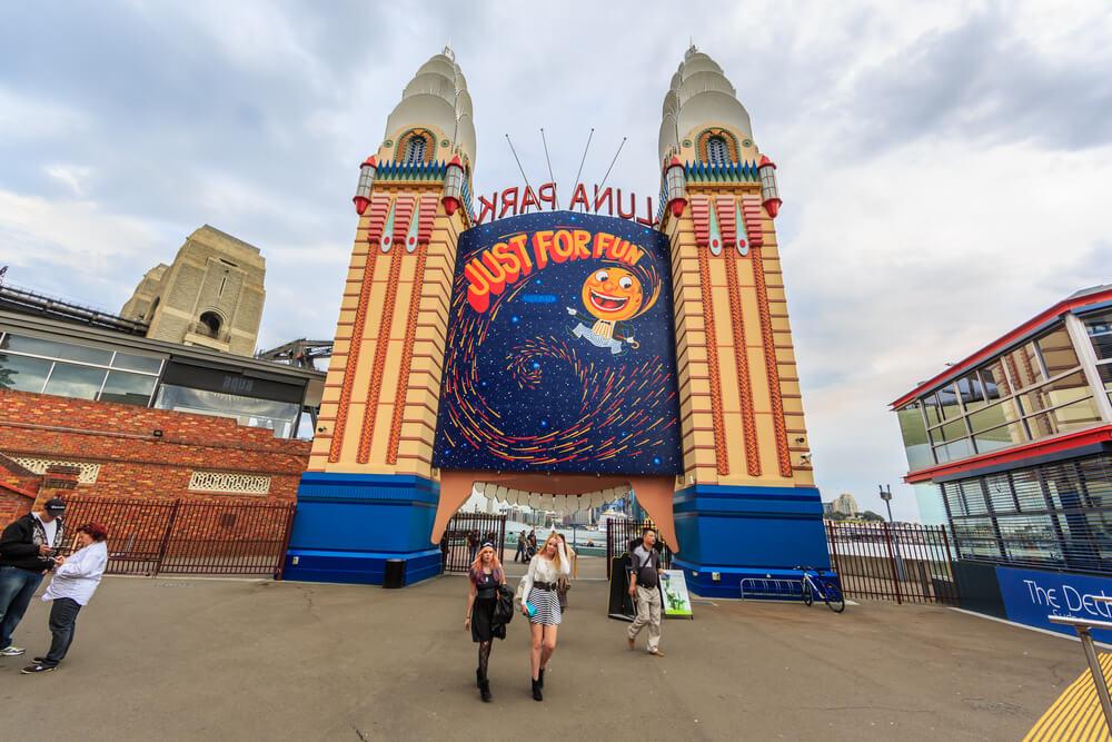 Tourists visit Lunar Park- Vivid Sydney
