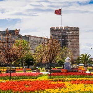 The ancient walls of Constantinople, during the Tulip Festival in Istanbul, Turkey