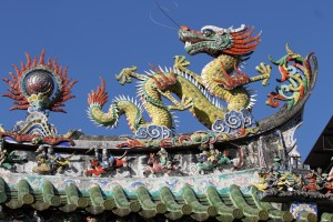 Intricate art adornment of the roof of the Hainan Temple in Georgetown, Malaysia