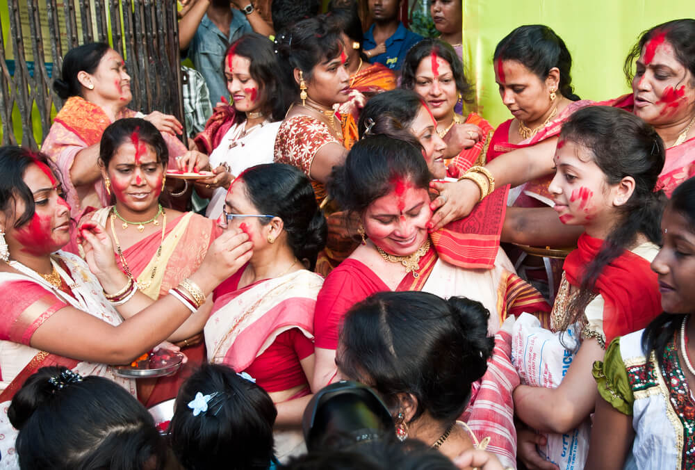 Sindur Khela traditional ceremony on durga puja