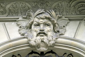 Bas relief carving on Avenue Montaigne Paris France
