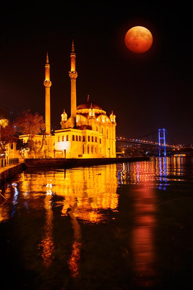 Osphorus Bridge with Lunar Eclipse Istanbul