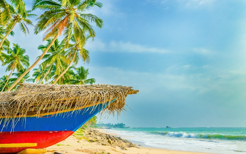 Exotic beach with colorful boat, tall palm trees and azure water, Sri Lanka, southern Asia