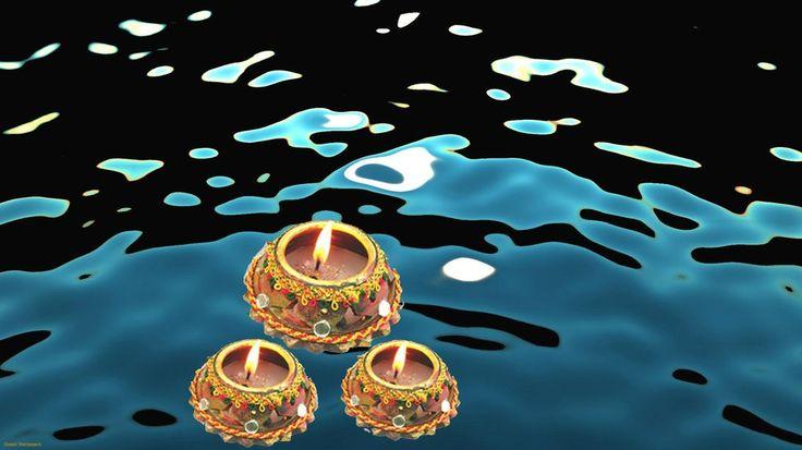 Diyas in Dal Lake, Diwali