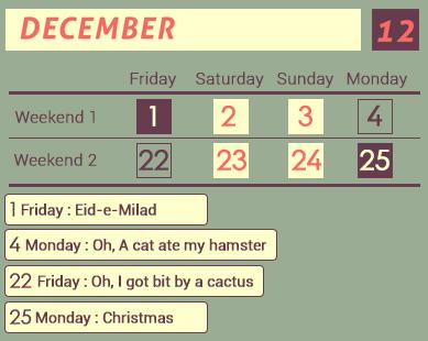 December Long weekends 2017