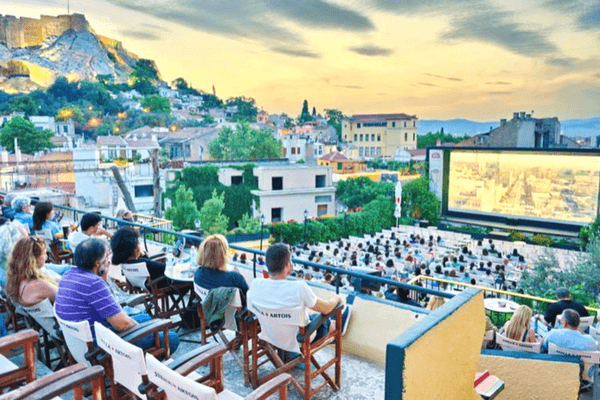 Open-Air Cinema in Kamari Village, Santorini