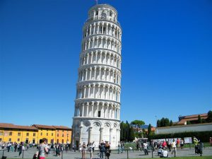 Leaning towards Pisa in Italy