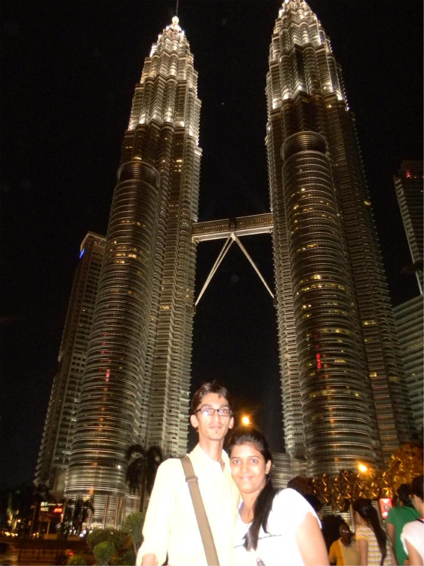 Mehul with his wife at Twin Towers, Kuala Lumpur