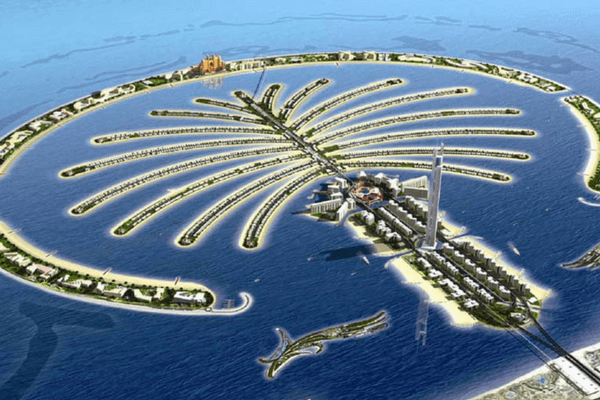 Aeriel View Of Palm Island, Dubai